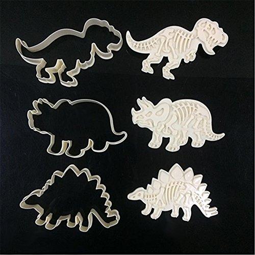 zhouba 6Stück Kuchen Dekoration Dinosaurier Cookies Cutter Biscuit Formen Set Backen Werkzeuge Formen, siehe abbildung, Einheitsgröße (Form Abbildung)