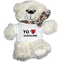 Oso blanco de peluche con Amo Barcelona en la camiseta (ciudad / asentamiento)
