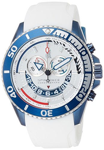 Spinnaker Amalfi Diver Men's Quartz Watch with White Dial Chronograph Display on White Silicon Band SP-5021-09