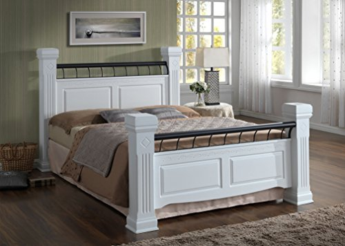 Rolo Solid Bed Frame Painted White with Chunky Posts and Leaf Print Engraved Detailing - Double (4ft 6) or King (5ft) Size (Double - 4ft 6in)