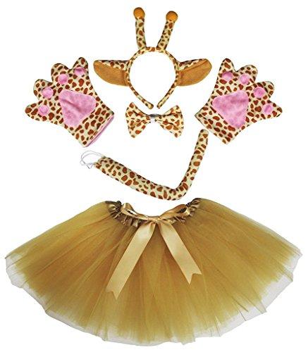 Petitebelle Stirnband Bowtie Schwanz Handschuhe Tutu 5pc Mädchen-Kostüm Einheitsgröße Braun Giraffe (Mädchen Kostüm Giraffe)