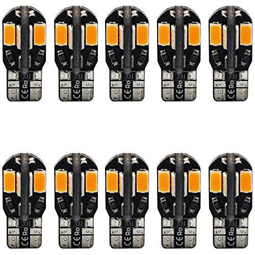 10-Pack T10 194 168 168 2825 Ambre/Jaune Canbus Sans Erreur 12V LED Lumière, 8-SMD 5730 Ampoule de Remplacement De Voiture Pour Dôme, Courtoisie, Plaque D'immatriculation, Feu de Position Latéral