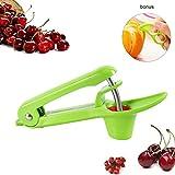 TopWill Kirschentkerner Kirsche und Oliven Stoner, Handliche Kirschkernentferner Cherry Pitter mit ergonomischem Design (Grün)