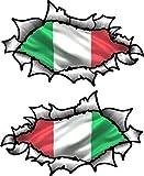 Piccolo Mani Paio di Ovale Strappati Aperto Strappato Effetto Metallo Design con Italia Italiano Bandiera Vinile Moto Casco Adesivo 85x50mm Ogni