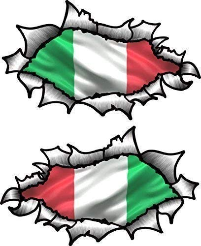 Piccolo Mani Paio di Ovale Strappati Aperto Strappato Effetto Metallo Design con Italia Italiano Bandiera Vinile Moto Casco Adesivo 85x50mm O