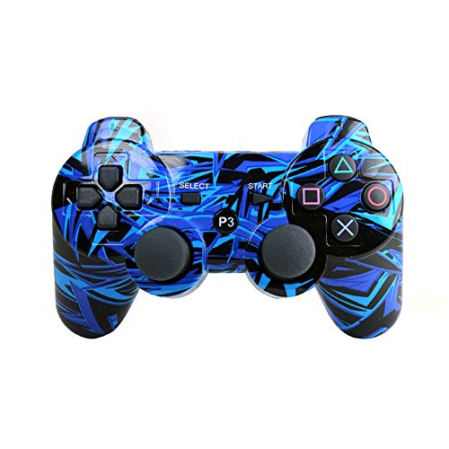 [2er-Pack] Kabellose Doppel-Vibration Game Controller Bluetooth Sixaxis Gamepad Fernbedienung für PS3 Playstation 3 [Geschenk 2 Ladekabel] Blau 1 Pack Blue Line - Controller Ps3 Wireless Blau
