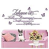 Grandora Wandtattoo Sprüche und Zitate Zuhause ist I violett (BxH) 100 x 43 cm I Flur Wohnzimmer modern Spruch Aufkleber selbstklebend Wandsticker Wandaufkleber W3058