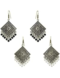 Waama Jewels Combo Of Gold Plated White & Black Dangle & Drop Earring Perfect For All Occasions Fashion Traditional...
