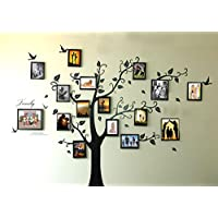 Rainbow Fox Large Black Photo Frames 16 Frames Memory Tree Photo Tree Wall Vinly Decal Decor Sticker Removable Wall Decal for Living Room (180cm*250cm) (16pcs frame tree)