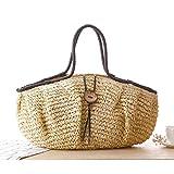 QLXMLWKD Handgemachte Strohbeutel-b?hmische Strand-Totalisator-Handtaschen-Frauen-Verursachende Einkaufsreise-Beutel-gro?e Kapazit?t Gesponnene Schulter-Beutel