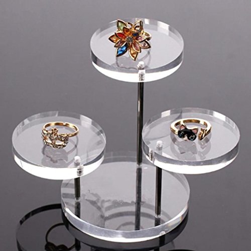 HCFKJ 3 Schicht Klar Runde Taste Acryl Schmuck Display-StäNder Ohrring Halskette Ring Organizer Display Regal - 30 Display-taste