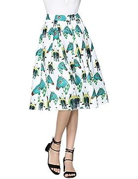 iShine Sra faldas de impresión y retro