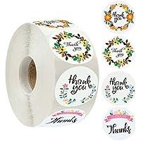 Katyma Pegatina de Agradecimiento 500 Piezas/Rollo de Etiquetas de Agradecimiento 4 Etiquetas de Cierre con Estampado de Flores Diferentes para Halloween Navidad