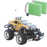 RCC Gelber Pickup Monstertruck HOT Cross Country 1:16, Ferngesteuert, perfekt für Kinder, mit LED Licht und Akku + Zweitakku