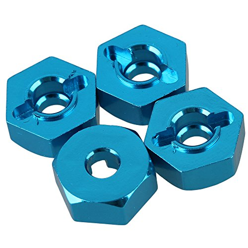 BQLZR 4pcs 12mm OD Aluminum Alloy Wheel Hex for HSP RC 1:10 Model Car 102042 Blue (Hex-zubehör)