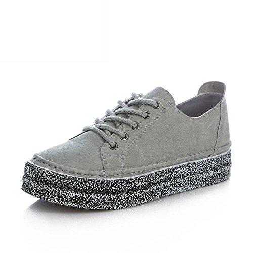 ALUK- Printemps Et Automne Retro Loisirs Solid Couleur Basse Pour Aide Chaussures De Sport Chaussures De Marée ( couleur : Gray , taille : 35 ) Gray