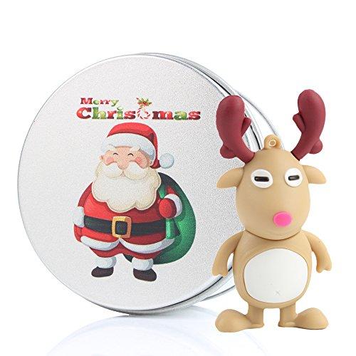 USB Memory Stick Flash Drive, kenor Cartoon Cute Lovely Weihnachten Reendeer Silikon USB Stick mit Schlüsselanhänger 8g/16G/32G/64G weiß weihnachtsmann 16 GB
