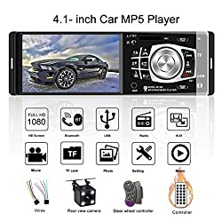 4.1 Inch Bluetooth Car Radio Auto Audio FM Receiver, HD Screen 4012b MP4 MP5 Player Support Aux Input / SD / USB Hands Free Calling with Wireless Remote Control ( with 4 LED Rear View Camera )