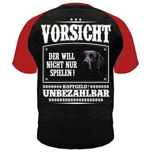 Männer und Herren T-Shirt Labrador (mit Rückendruck) Rot/Schwarz