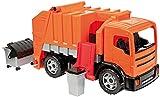 Lena 02166 - Starke Riesen Müllwagen, orange, ca. 72 cm, stabiles Müllfahrzeug mit 2 Achsen, großes Spielfahrzeug für Kinder ab 3 Jahre, robustes Müllauto mit Funktion und 2 Müllbehälter