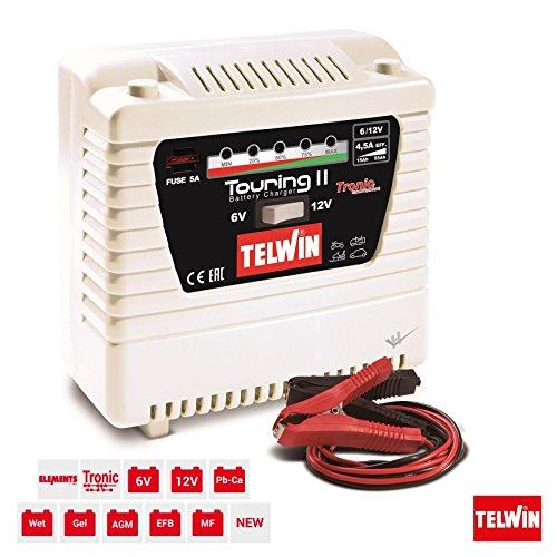 TELWIN Chargeur de Batterie Touring 11, voiture, moto Wet, gel, PB de Ca, AGM, MF, EFB Accumulateurs avec 6/12 V Tension