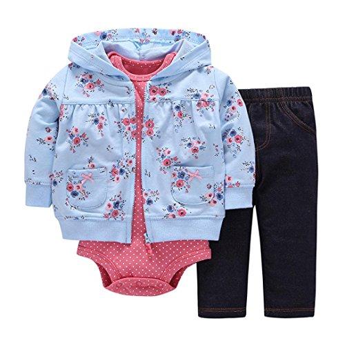 OverDose 3PCS Neugeborenes Baby Mädchen Jungen Fox Print Cartoon Druck Hoodie Jacke Mantel + Hosen + Strampler Weihnachten Outfits Set(24 Monate,Blau)