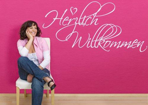 Wandtattoo für den Eingang, Flur, Haustüre 68043-58×28 cm, ~ Schriftzug: Herzlich Willkommen ~ Wandaufkleber Aufkleber für die Wand, Tapetensticker aus Markenfolie, 32 Farben wählbar