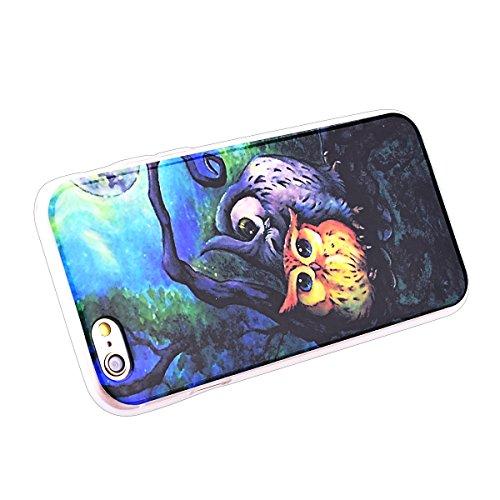 HB-Int 3 in 1 Custodia per Apple iPhone SE / 5 / 5S Pattern Chiaro Shell Custodia Fashion Disegno Case Flessibile TPU Gel Caso Ultra Sottile Leggera Copertura Anti Graffi Silicone Soft Cover + Pennino Gufo