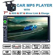 lling (TM) 7pulgadas HD Bluetooth MP5reproductor TFT pantalla táctil FM Radio AM RDS Coche Video USB TF AUX entrada color Protector de coche estéreo AUX-IN + Subwoofer volante controles + mando a distancia