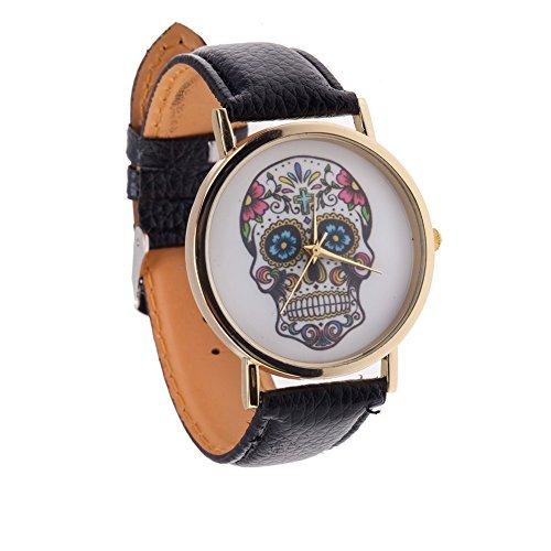 Hochqualitative Trendy Damen Quarz Armband Uhr Mit Schwarz PU Band, Gehäuse Golden Und Bunt Mexikanischer Totenkopf Muster Anzeige Von VAGA