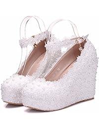 DIMAOL Zapatos de Mujer Tacones Puntilla Primavera Otoño Comodidad Talón de Cuña Para Casual Rosa Blanca