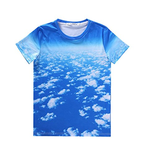 Pretty321 Men Women 3D Blue Sky Cloud Hip Hop Graffiti Creative Unisex T-shirt Amazon