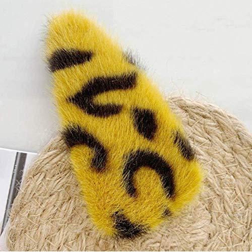 FLOWERFA Horquillas de Felpa de Leopardo Accesorios para el Cabello para Mujer Pinzas para el Cabello elípticas geométricas para el Cabello
