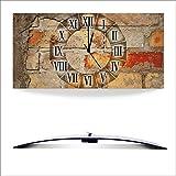 Artland 3D analoge Wand-Funk- oder Quarz-Uhr Digital-Druck auf Alu weiß mit Motiv W. L. Antike Uhr Architektur Architektonische Elemente Fotografie Braun A5YF