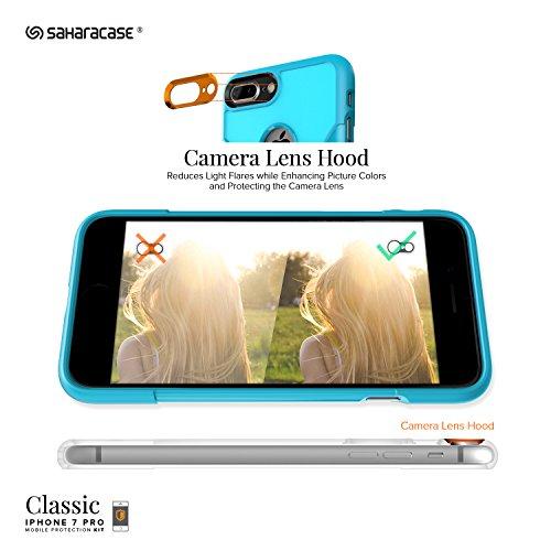Funda iPhone 7 Plus, (Verde Azulado) Kit Funda Protectora SaharaCase con [Protector de Pantalla de Vidrio Templado ZeroDamage] Fuerte Protección Antideslizante [Cubierta Anti-golpes] Fino y Elegante