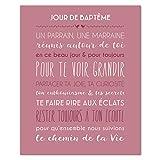 Mes Mots Déco CV-BAT-6F-035 Tableau Canvas Jour de Baptême Fond Blush Toile, 33 x 41 x 2 cm