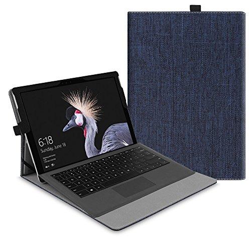 Fintie Hülle für Microsoft Surface Pro 6 (2018) / Pro 5 (2017) / Pro 4 / Pro 3 - Multi-Sichtwinkel Hochwertige Tasche Schutzhülle aus Kunstleder, Type Cover kompatibel, Stoff Indigoblau