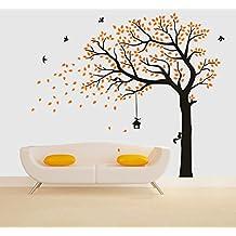 Bdecoll vinilo adhesivo para pared, diseño de árbol Gigante negro con hojas verdes, pájaros y jaulas, para decoración de dormitorio (amarillo)