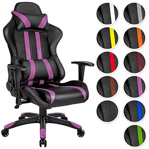 TecTake Bürostuhl Sportsitz Racing Gaming Stuhl ergonomisch mit Armlehnen inkl. Lordosenstütze und Nackenkissen - diverse Farben - (schwarz lila | Nr. 402228)