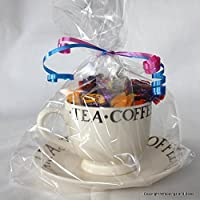 "Wrappings and Bows Extra Large Gusseted Clear Cellophane Gift Bags 14"" x 8.5"" x 3"" (36.5cm x 22cm x 8cm) 10 bags"