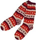 Guru-Shop Handgestrickte Schafwollsocken, Nepal Socken, Herren/Damen, Orange, Wolle, Size:L (40-43), Socken & Beinstulpen Alternative Bekleidung