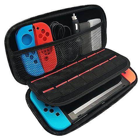 Anpress Housse de transport Nintendo Switch, étui rigide de protection portable avec 14 cartouches de jeu pour console Nintendo Accessoires et accessoires Noir