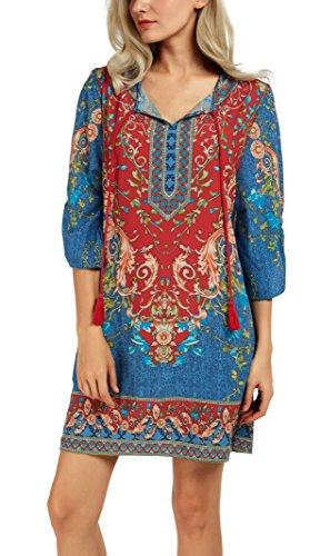 Urban GoCo Donna Maglietta Maniche 3/4 Vestito Corto Etnico Casual Elegante Boemia Camicetta Lunga Tops (S, #B)