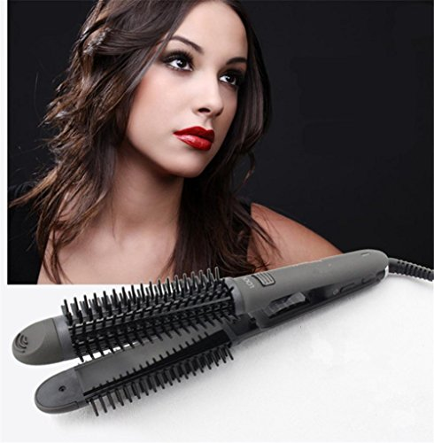 WGE Lockenwickler & Hot Hair Brush 2 In 1 Keramik Hitzebeständige Haarglätter Kamm Hot Tools Keramik-haartrockner