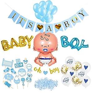 SicurezzaPrima Babyparty Deko Junge Set XXL - 48 Teile - Dekoration Baby Shower für Jungs - Luftballons, Girlande, Fotobox, Tischdeko, Streudeko - blau