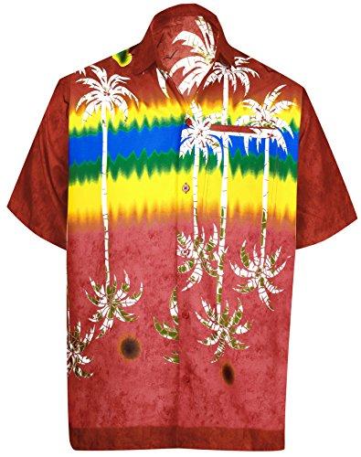 La Leela Likre für: Mens Hawaiihemd und Kleider 70er 80er 90er Jahre Retro-Vintage-Insel Herren-Hawaiihemd XS Rot