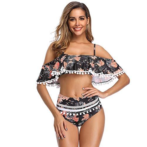 LOLIANNI Frauen Zweiteiler Bikini Set Damen Blumendruck Rüschen Volant Mesh Badeanzug Sommer Beachwear -