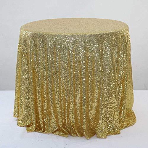 SHUIZAI Tablecloth Glänzende Sequin Gold Round Table Cover Wedding Round for Event Hotel Bankett Hochzeiten Tischdekoration Elfenbein Royal Blue Round Table Cover