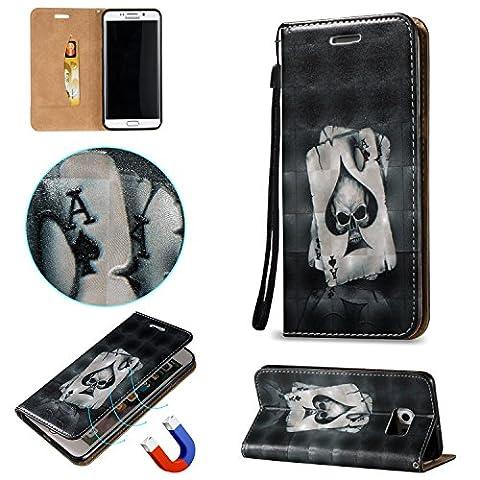Cozy Hut Hülle Case Cover Für Samsung Galaxy S6 Edge Plus , 3D HD Exklusive Ultra Thin Leicht TPU Silikon Weiche + Anti-Fingerprint kratzfeste + Drucken Muster Printing Pattern 3D Landschaft Schwarz Poker + Premium PU Leder Schutzhülle für Samsung Galaxy S6 Edge Plus / G9280 5,7