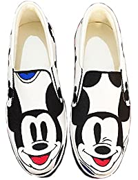 Badhuche Black And White Mickey Mouse Printed Stylish Casual Shoes For Womens/Girls